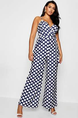 boohoo Plus Wrap Polka Dot Jumpsuit