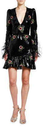 Giambattista Valli Floral Embroidered Sequin V-Neck Mini Dress