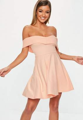 Missguided Nude Wrap Bardot Skater Dress