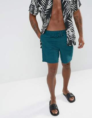 Asos Swim Shorts In Teal Mid Length