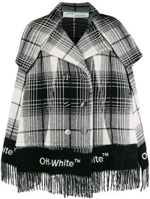 Off-White fringed check print coat