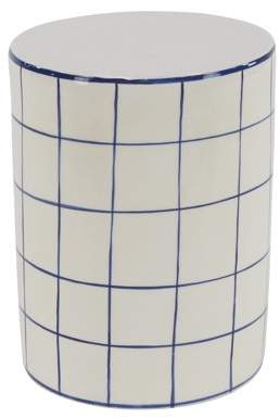 DecMode Decmode Modern 16 X 12 Inch White and Blue Cylindrical Ceramic Stool