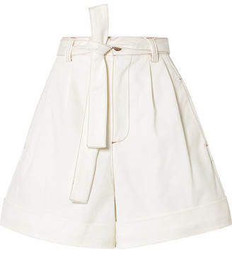 See by Chloe Belted Cotton-twill Shorts - White