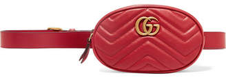 Gucci Gg Marmont Quilted Leather Belt Bag - Red