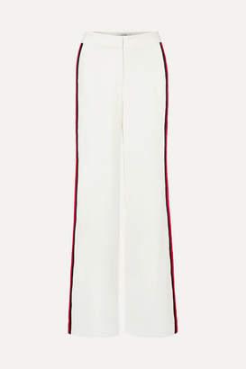 La Ligne - Tuxedo Grosgrain-trimmed Crepe Wide-leg Pants - White
