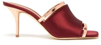 Malone Souliers Laney Leather And Satin Mules - Womens - Burgundy Multi