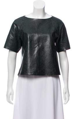Tibi Textured Leather Top