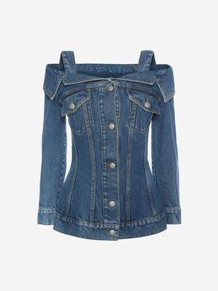 Alexander McQueen Off The Shoulder Denim Jacket