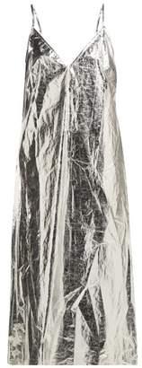 Raey V Neck Foil Midi Slip Dress - Womens - Silver
