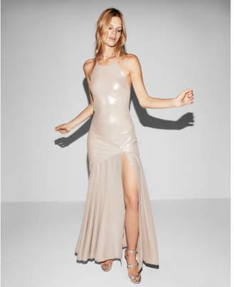 Express halter neck satin maxi dress