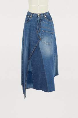 Loewe Denim patchwork skirt