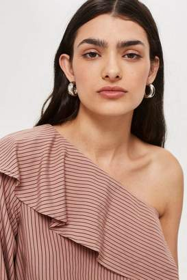 Topshop Striped One Shoulder Ruffle Top