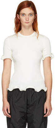 Alexander Wang White Ruffle Zipper T-Shirt