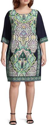 Studio 1 3/4 Sleeve Jacobean Sheath Dress - Plus