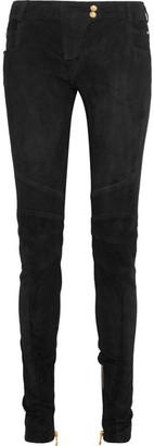 Balmain - Moto-style Suede Skinny Pants - Black $3,900 thestylecure.com
