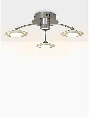 f2caca0e9eae John Lewis & Partners Jasper LED Semi Flush 3 Arm Ceiling Light, Chrome