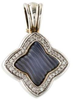 David Yurman Diamond & Chalcedony Quatrefoil Pendant