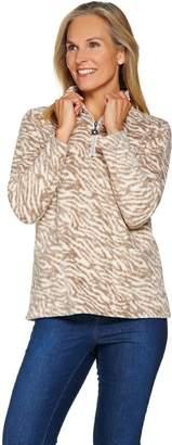 Susan Graver Weekend Printed Polar Fleece Half Zip Pullover Top