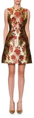 Dolce & Gabbana Sleeveless Metallic Floral-Jacquard A-Line Dress