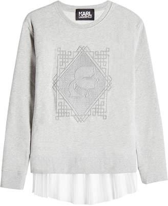 Karl Lagerfeld Embroidered Cotton Sweatshirt with Pleated Hem