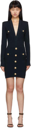 Balmain Navy Knit Short Dress