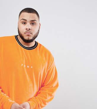 Puma Plus Velvet Crew Neck Sweatshirt In Orange Exclusive To Asos