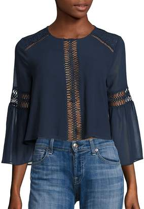 Tularosa Women's Jaylen Lace Detail Blouse - Deep Indigo, Size x-small
