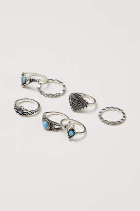 H&M 7-pack Rings - Turquoise