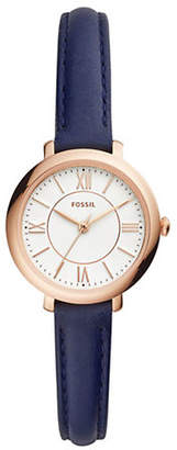 Fossil Womens Jacqueline Three-Hand Navy Leather Watch