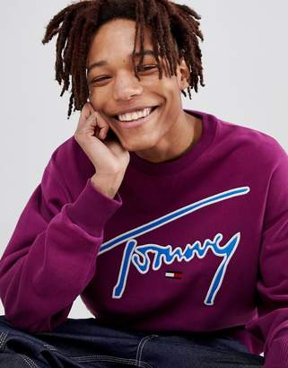 Tommy Jeans Signature Capsule logo front sweatshirt relaxed fit in purple