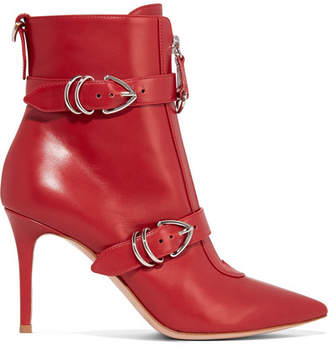Gianvito Rossi 85 Buckle-detailed Leather Ankle Boots - Red