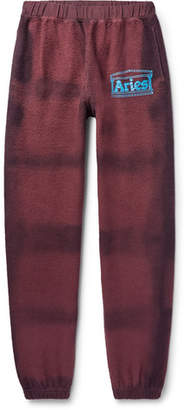 Aries Logo-Print Tie-Dyed Cotton-Terry Sweatpants
