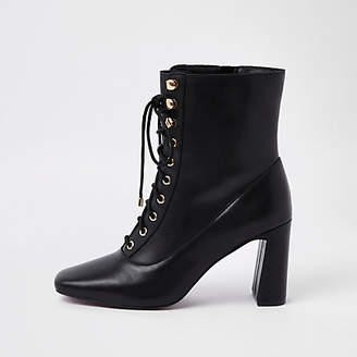 River Island Black leather lace-up square toe boots