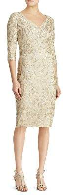 Lauren Ralph Lauren Sequined V-Neck Knee-Length Dress
