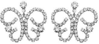 Xo X & O Rhodium Plated Crystal Butterfly Earring ***