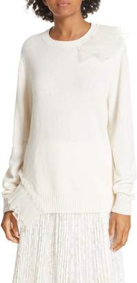Clu Asymmetric Ruffle Trim Sweater