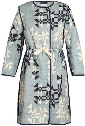Isabel Marant Leist Geometric Print Tie Waist Coat - Womens - Light Blue