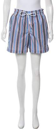 Derek Rose Striped Ruched Shorts