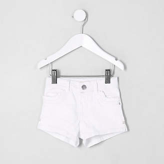 River Island Mini girls White frill pocket denim shorts