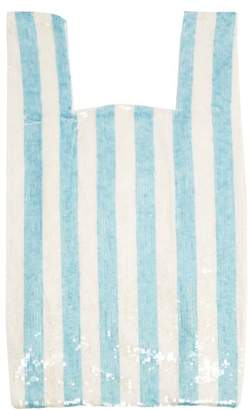 Ashish Striped Sequin Embellished Cotton Bag - Womens - Blue White