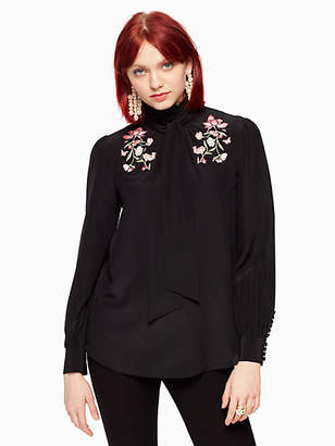 Kate Spade Embroidered roslin bow top