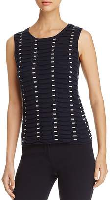 Emporio Armani Textured Contrast-Detail Pleated Top