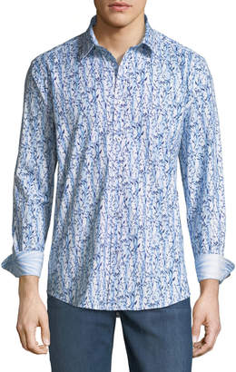 1 Like No Other Classic Fit Floral Striped Sport Shirt