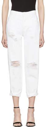 Alexander Wang White Slack Rolled Boyfriend Jeans