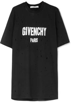 Givenchy Oversized Distressed Printed Cotton-jersey T-shirt - Black