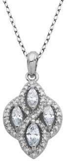 Lord & Taylor Crystal and Sterling Silver Quatrefoil Pendant Necklace