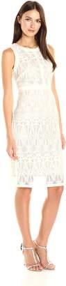 Gabby Skye Women's Sleeveless Round Neck Lace Sheath Dress