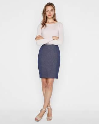 Express High Waisted Twill Seamed Pencil Skirt
