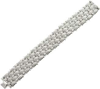 "Italian Silver Sterling 6-3/4"" Textured Woven Bracelet, 51.8g"