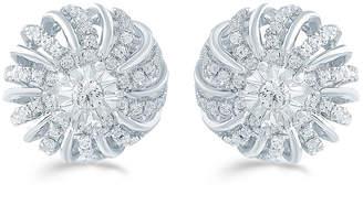 FINE JEWELRY 1/2 CT. T.W. Genuine White Diamond Sterling Silver 12.1mm Flower Stud Earrings
